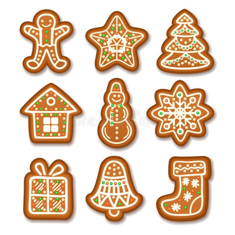 O grupo de cookies do Natal do pão-de-espécie decorou a crosta de gelo ilustração do vetor