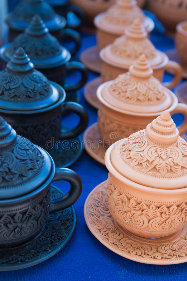 O grupo de copo de café cozido da argila foto de stock royalty free