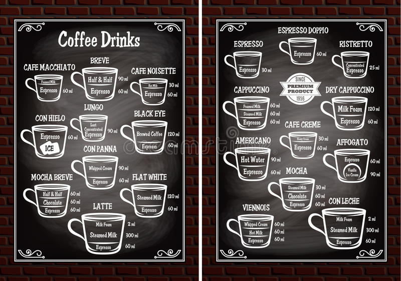 O grupo de copos com café diferente bebe para o menu do restaurante ilustração do vetor