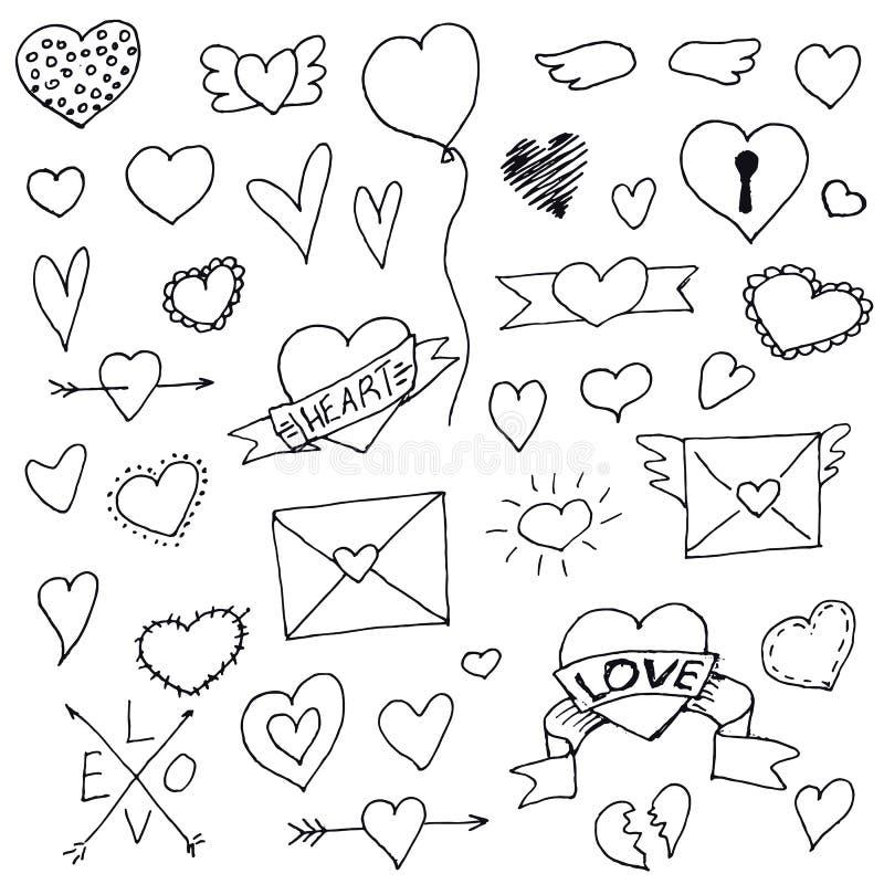 O grupo de corações entrega tirado para seu projeto ilustração do vetor