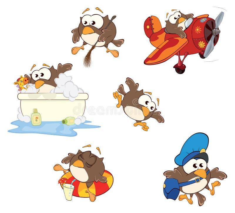 O grupo de corujas bonitos para você projeta desenhos animados ilustração do vetor