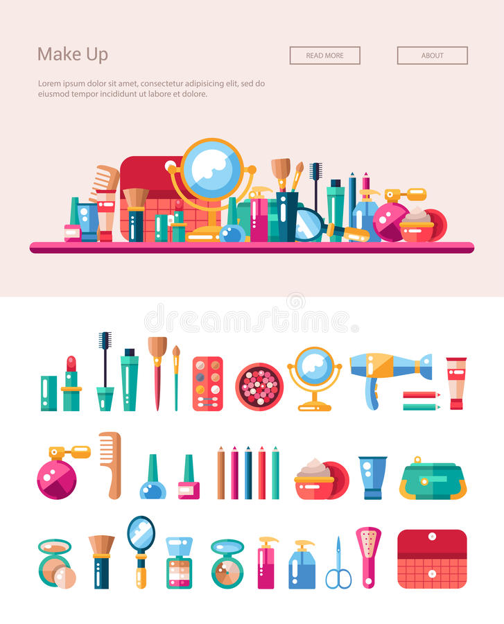O grupo de cosméticos lisos do projeto, compõe ícones e ilustração stock