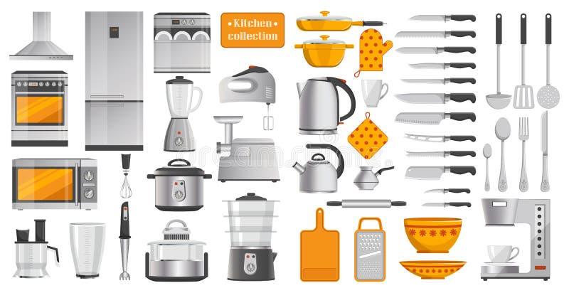 O grupo de cozinha diferente utiliza ferramentas a ilustração do vetor ilustração do vetor