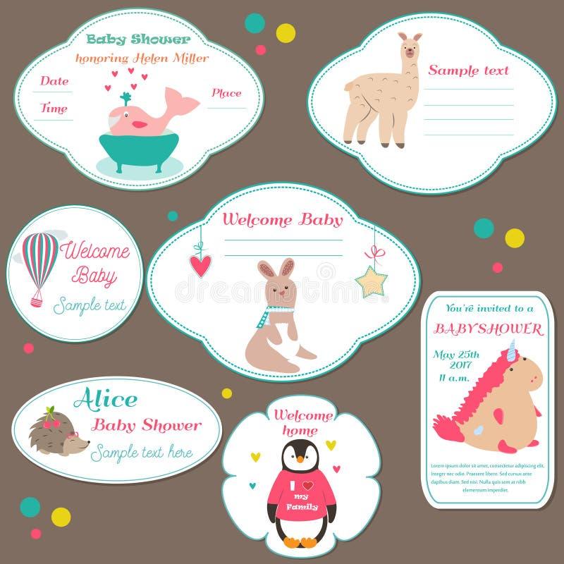 O grupo de crachás da festa do bebê, convite etiqueta com os animais bonitos ilustração royalty free