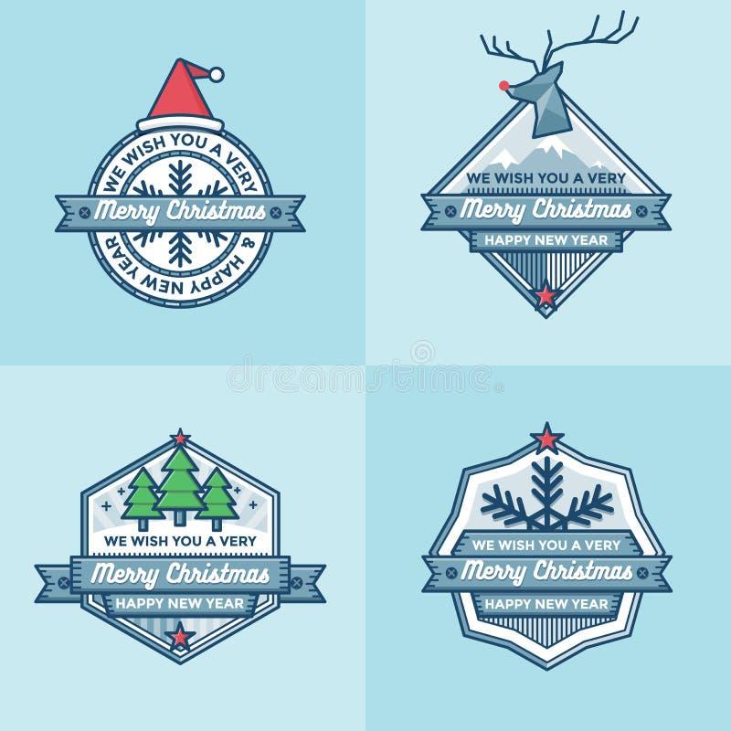 O grupo de crachás do Natal etiqueta bandeiras grupo liso do vetor do projeto ilustração royalty free