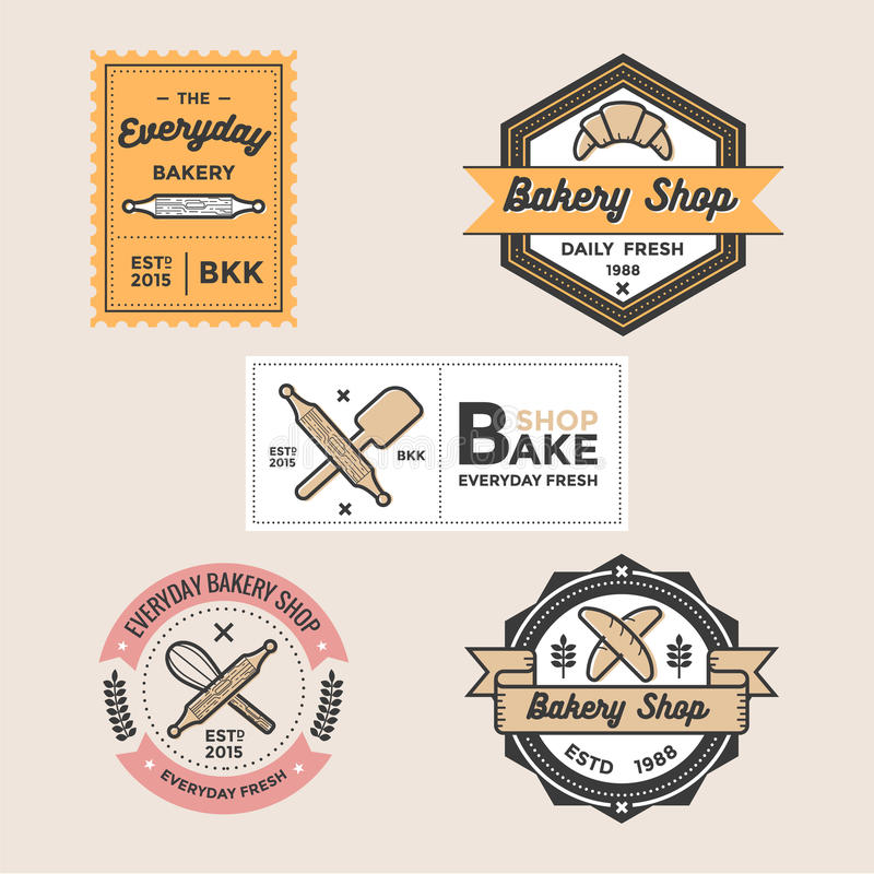 O grupo de crachás retros do logotipo da loja da padaria do vintage simboliza e as etiquetas vector o molde ilustração royalty free
