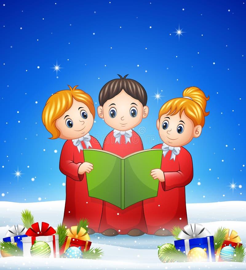 O grupo de crianças choir no fundo do inverno com bolas ilustração do vetor