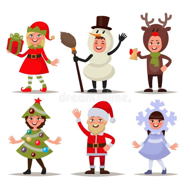 O grupo de crianças felizes vestiu-se em trajes do Natal Duende, snowma ilustração royalty free