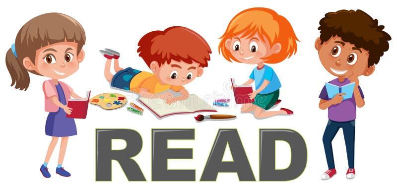 O grupo de crianças leu o conceito ilustração stock
