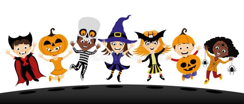 O grupo de crianças nos trajes para haloween ilustração royalty free