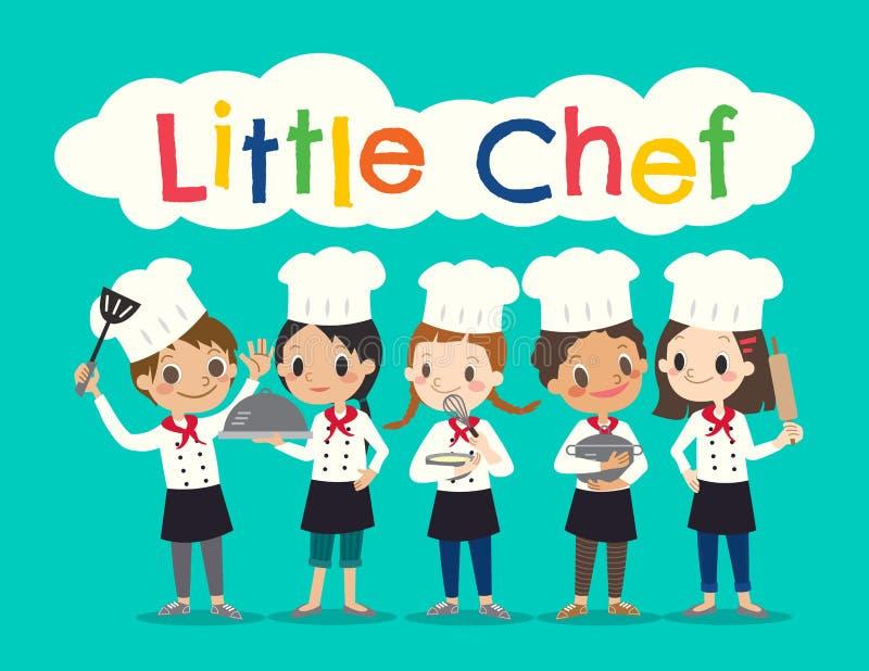O grupo de crianças novas do cozinheiro chefe caçoa a ilustração dos desenhos animados ilustração royalty free