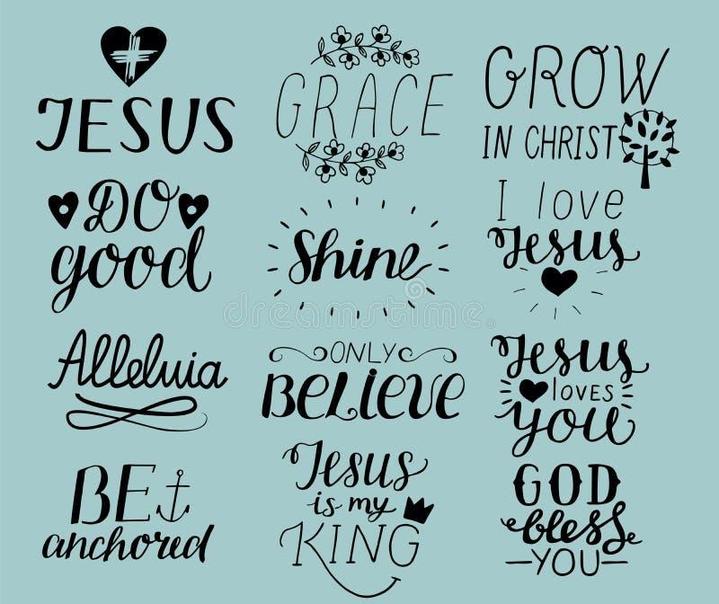 O grupo de cristão da rotulação de 12 mãos cita o amor Jesus de I Benevolência O deus abençoa-o Faça bom Cresça em Cristo seja an ilustração royalty free