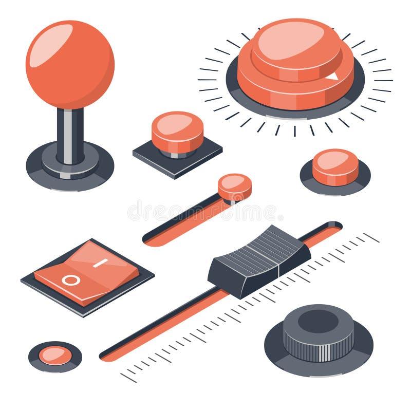 O grupo de 3D abotoa reguladores dos interruptores ilustração do vetor