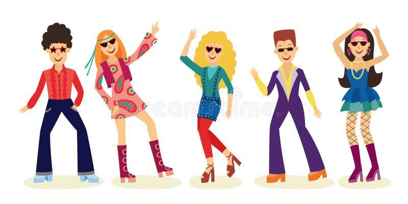 O grupo de dança do disco dos povos com os homens e as mulheres na forma veste 70s isolados no fundo branco ilustração royalty free