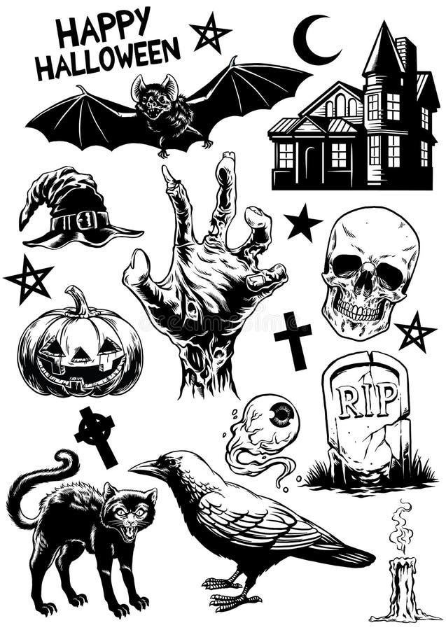 O grupo de desenho da mão do Dia das Bruxas objeta em preto e branco ilustração do vetor