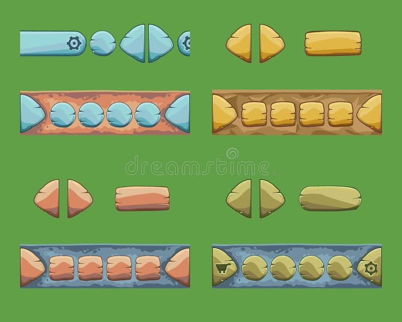 O grupo de desenhos animados abotoa-se com formas diferentes, elementos do GUI do vetor ilustração royalty free