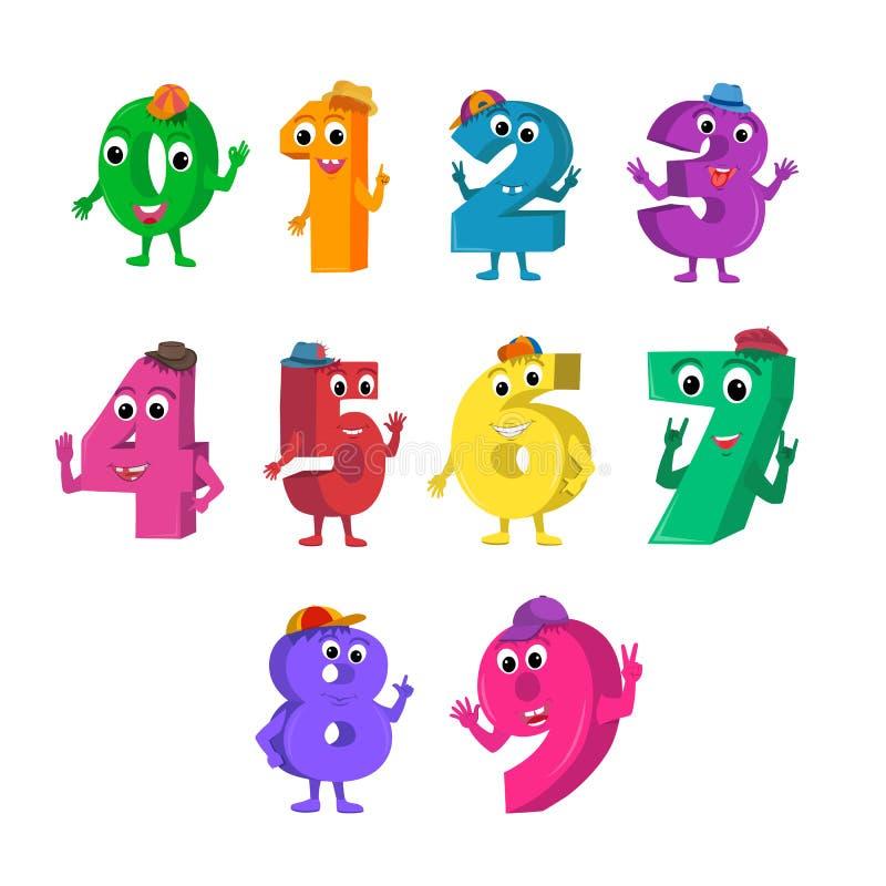 O grupo de desenhos animados engraçados numera caráteres ilustração royalty free