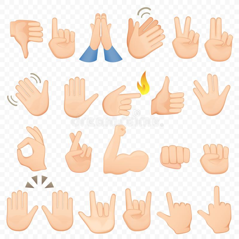 O grupo de desenhos animados entrega ícones e símbolos Ícones da mão de Emoji Mãos, gestos, sinais e sinais diferentes, vetor ilustração do vetor