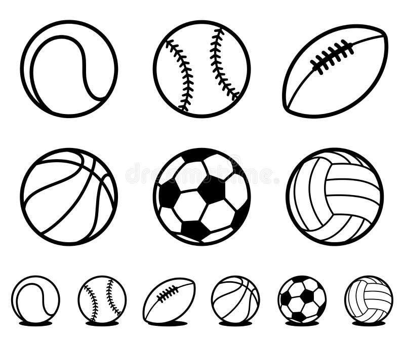O grupo de desenhos animados preto e branco ostenta ícones da bola ilustração stock