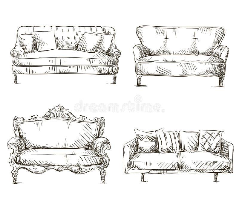 O grupo de desenhos dos sofás esboça o estilo, ilustração do vetor ilustração do vetor