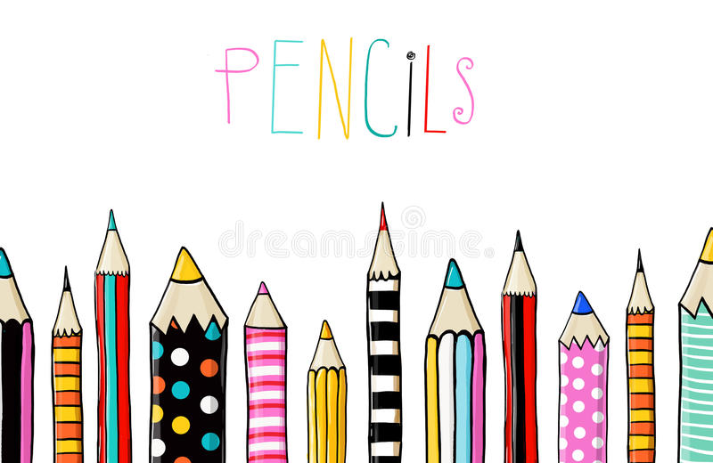 O grupo de dez coloriu lápis no fundo branco no estilo do divertimento do esboço Linha de lápis coloridos De volta à escola ilustração stock