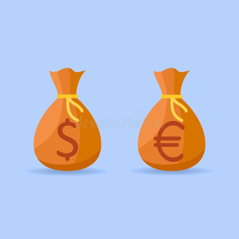 O grupo de dinheiro ensaca com ícones lisos do estilo do dólar e do euro- sinal ilustração stock