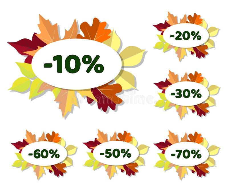 O grupo de disconto do outono etiqueta com as folhas coloridas ilustração stock