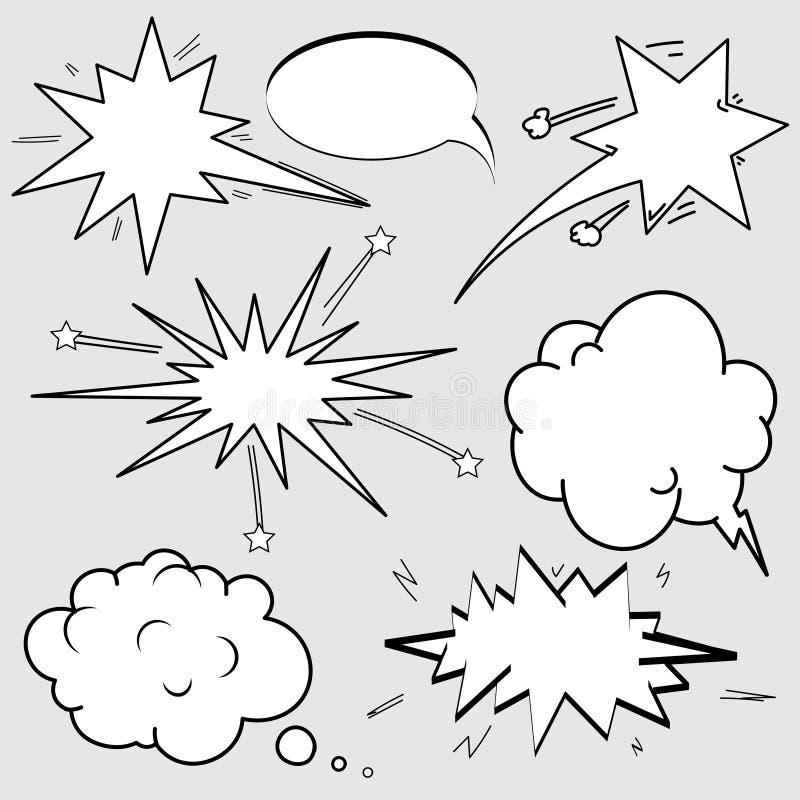 O grupo de discurso cômico borbulha os desenhos animados, nuvens vazias do diálogo no PNF Art Style ilustração royalty free