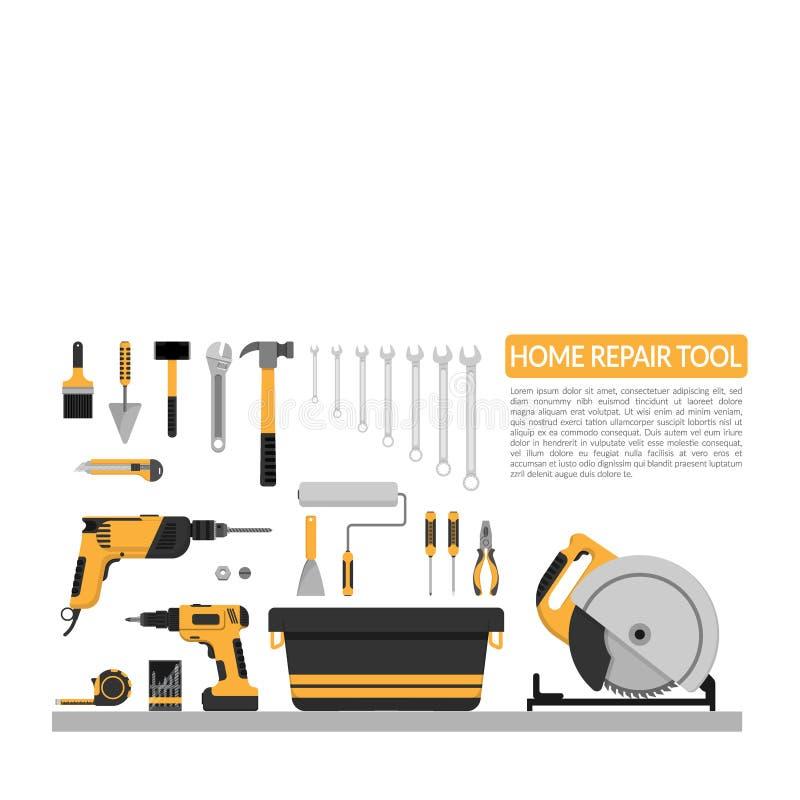 O grupo de DIY dirige o molde do projeto do logotipo do vetor das ferramentas de funcionamento do reparo bandeira home do reparo, ilustração royalty free