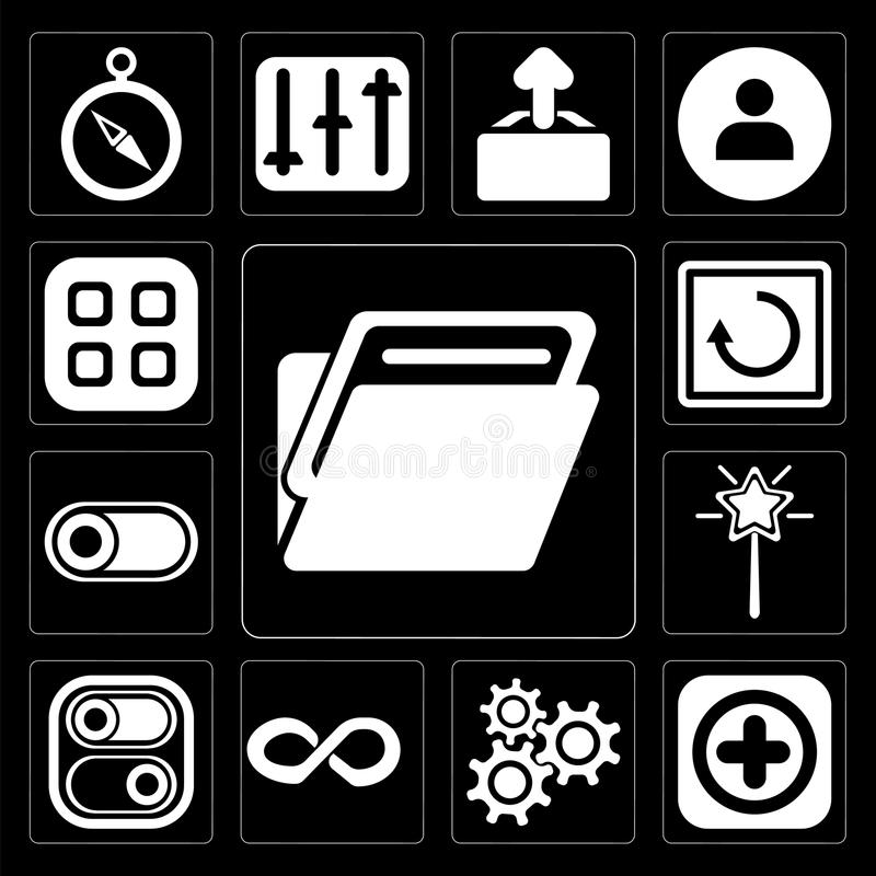 O grupo de dobrador, adiciona, ajustes, infinidade, interruptor, varinha mágica, resto ilustração royalty free