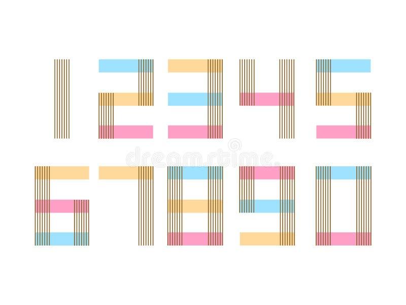 O grupo de elemento do formulário de dez números zero nove, numera o projeto liso ilustração stock