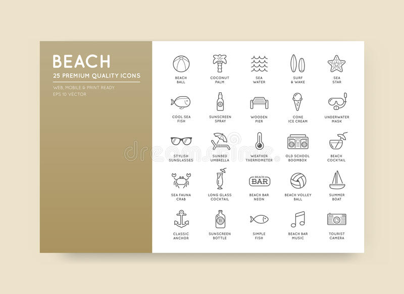 O grupo de elementos da barra do mar da praia do vetor e o verão podem ser usados como L ilustração stock