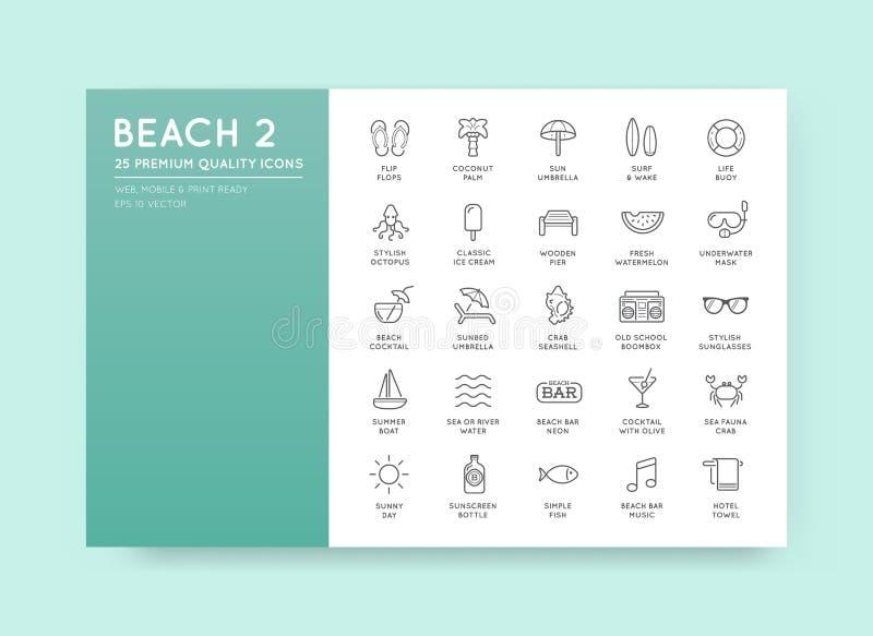 O grupo de elementos da barra do mar da praia do vetor e o verão podem ser usados como L ilustração royalty free