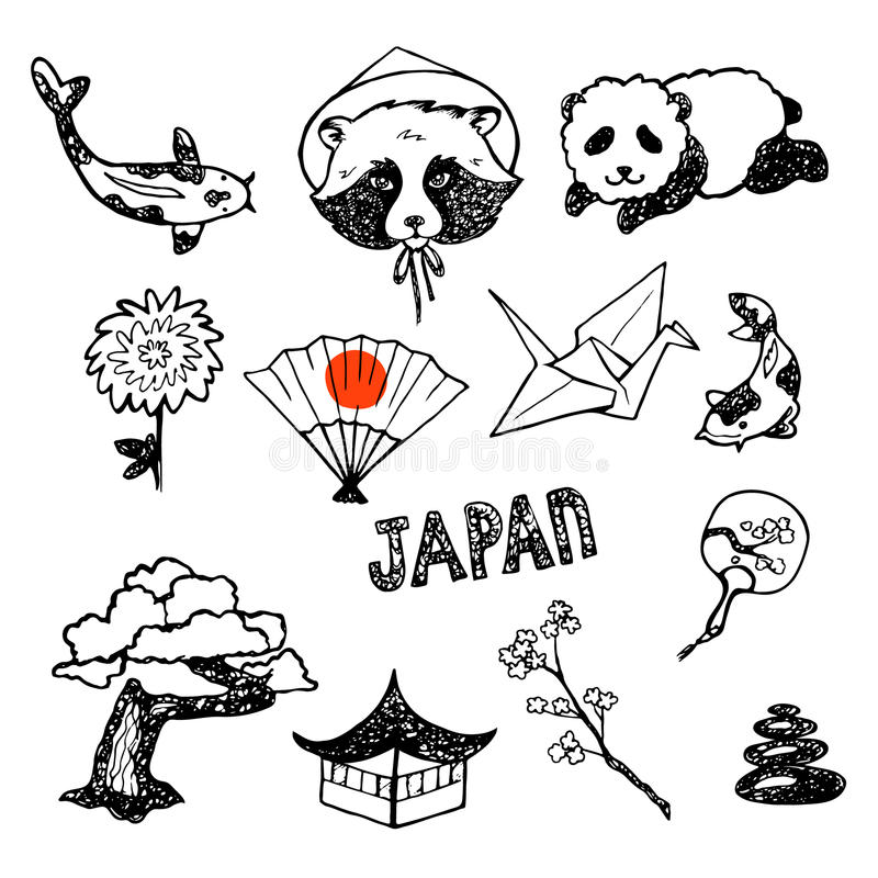O grupo de elementos da cultura japonesa fotos de stock