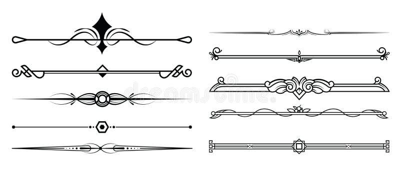 O grupo de elementos, de beira e de página decorativos ordena o quadro ilustração do vetor