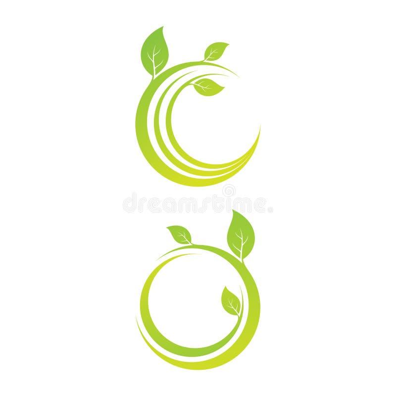 O grupo de elementos do projeto da folha do emblema deu forma à circular ilustração stock