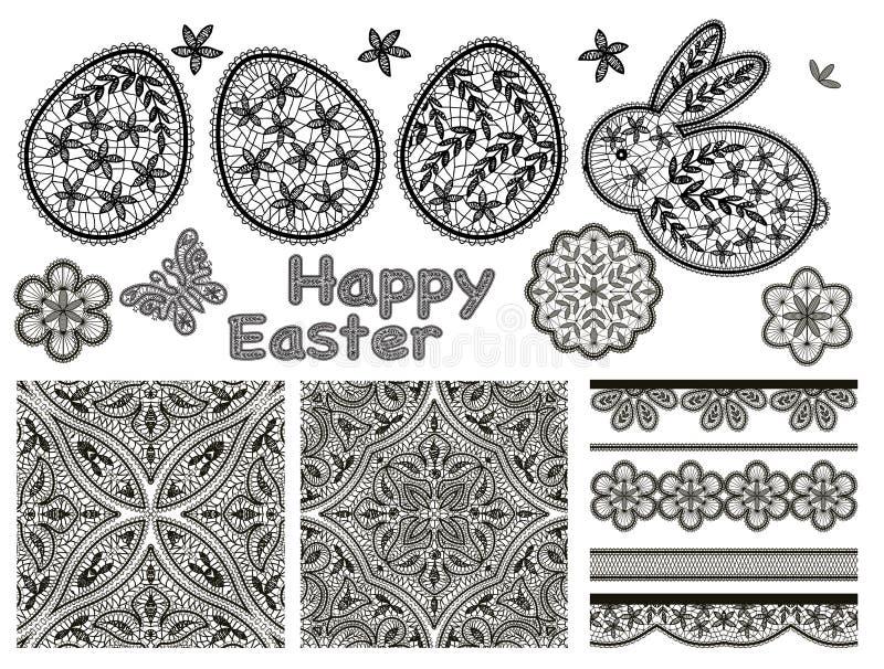 O grupo de elementos do projeto do laço para o dia feliz da Páscoa com laço eggs ilustração do vetor