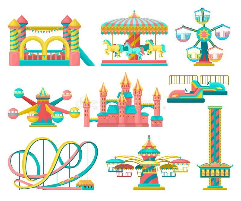 O grupo de elementos do projeto do parque de diversões, alegre vai círculo, trampolim inflável, torre livre da queda, castelo, ca ilustração stock