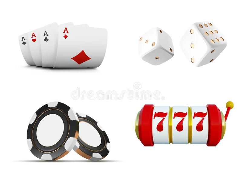O grupo de elementos ou de ícones do casino do vetor que incluem cartões de jogo, microplaquetas, dados e slot machine com sevens ilustração do vetor
