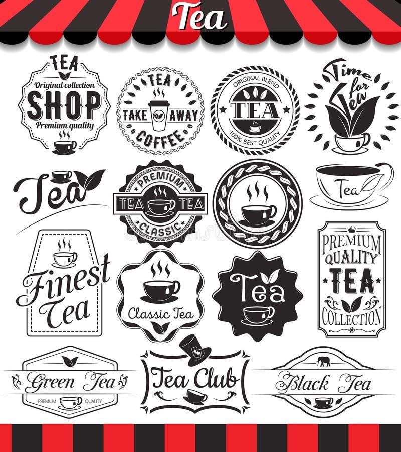 O grupo de elementos retros do chá do vintage denominados projeta, quadros, etiquetas do vintage e crachás ilustração royalty free