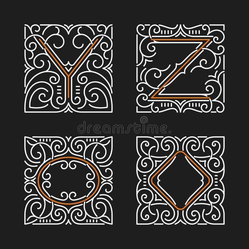 O grupo de emblemas à moda do monograma Letras Y, Z Ilustração do vetor ilustração do vetor