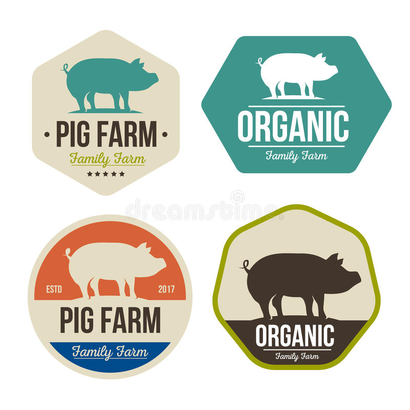 O grupo de emblemas frescos da carne de carne de porco da exploração agrícola de porco projeta, logotipo, etiqueta, símbolo ilustração stock