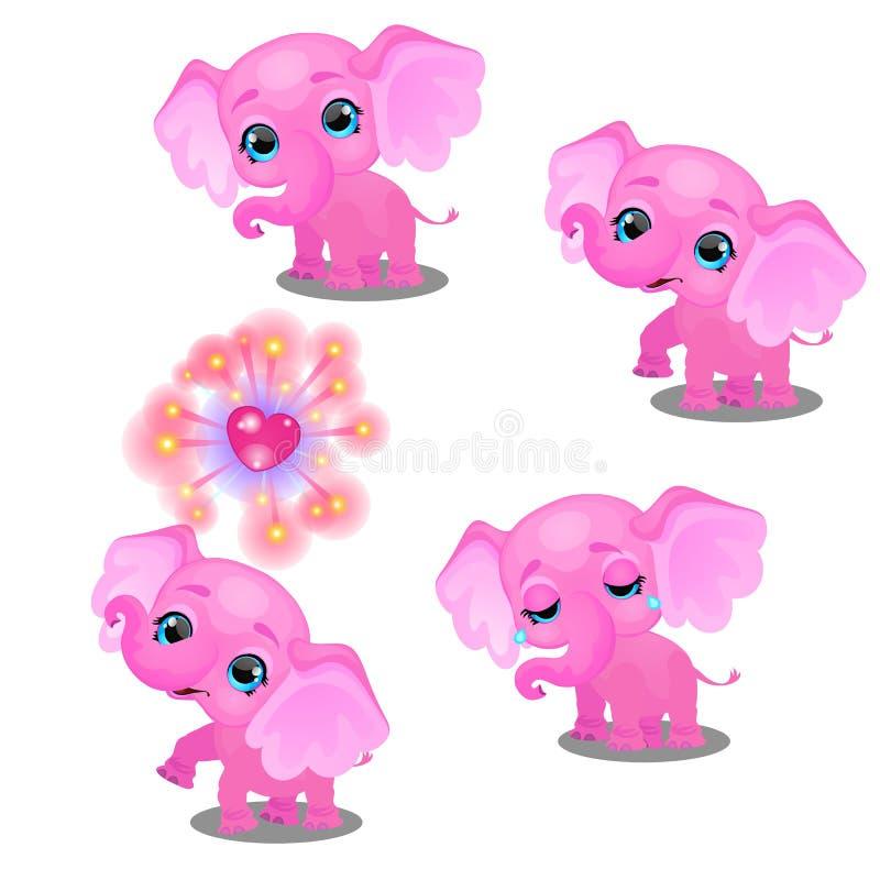 O grupo de emoções um elefante cor-de-rosa pouco animado isolado no fundo branco Amostra de cartaz, feriado do partido ilustração stock