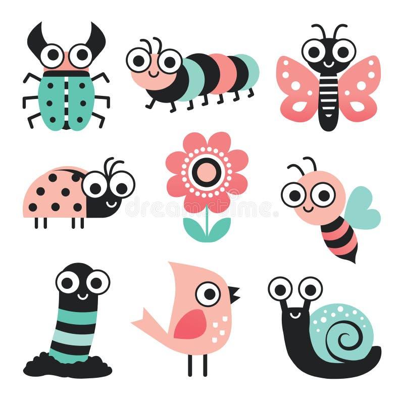 O grupo de erros engraçados dos desenhos animados e o jardim elemento-coram hortelã cor-de-rosa ilustração stock