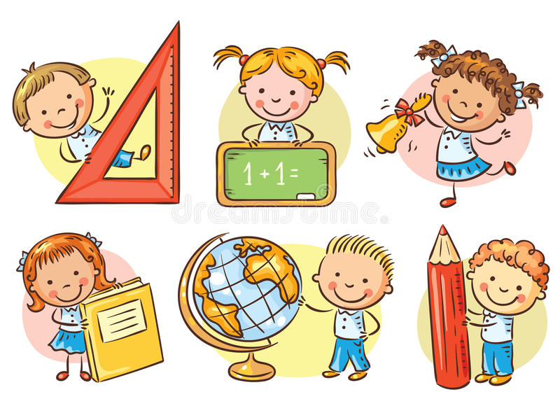 O grupo de escola dos desenhos animados caçoa guardar objetos diferentes da escola