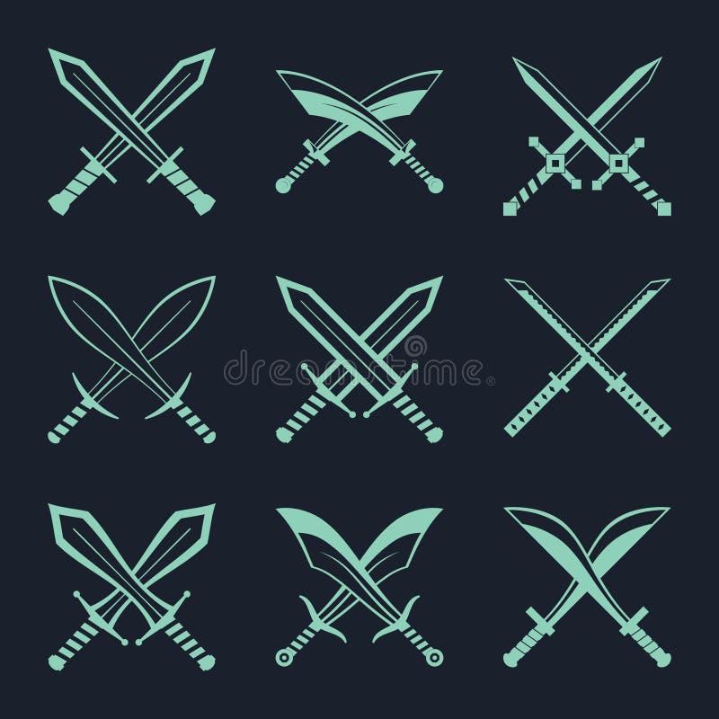 O grupo de espadas heráldicas e os sabres para a heráldica projetam o vetor ilustração stock