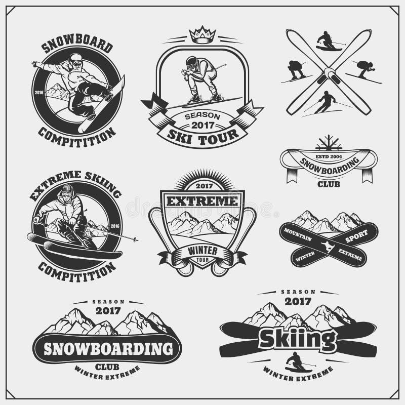 O grupo de esportes de inverno simboliza, etiquetas, crachás e elementos do projeto Snowboarding, esqui extremo, para baixo ilustração stock