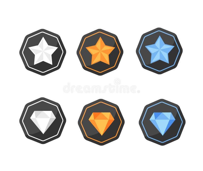 O grupo de estrelas dos ícones das concessões e os diamantes prateiam, platina, ouro ilustração royalty free