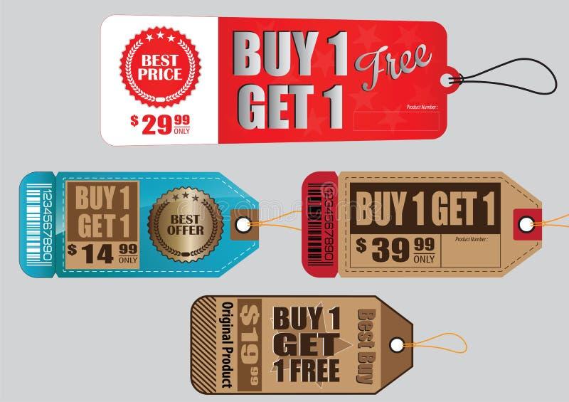 O grupo de etiqueta da venda ou etiquetas da venda ou a compra uma obtêm um ilustração stock