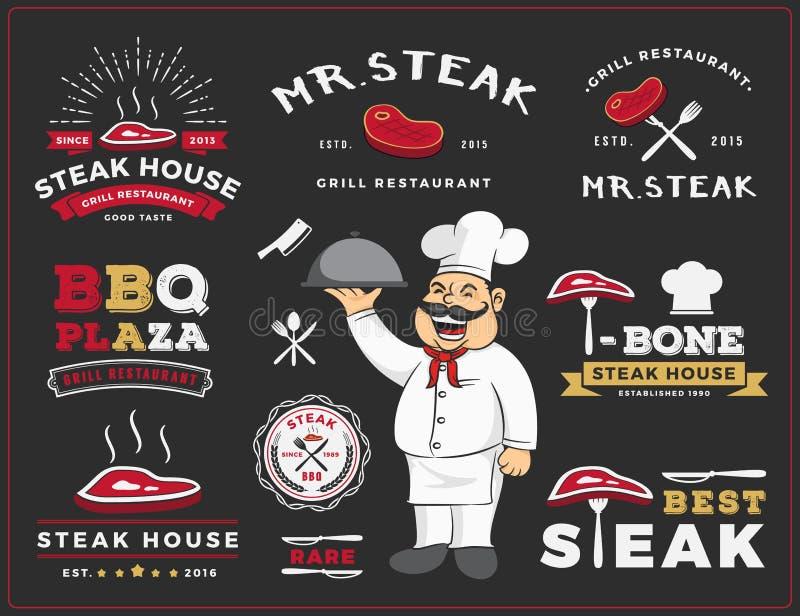O grupo de etiqueta do logotipo do restaurante do bife e da grade projeta ilustração royalty free